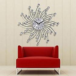 WinnerEco 33cm 36 Pcs Crystal Beads Decorative Wall Clock Metal Art Fashion Wall Clock Modern Style Good for Living Room & Home