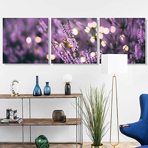 3 Panel Romantic Lavender Pictures Home Wall s for Bedroom Living Room Paintings Framed x3 Panels