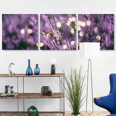 3 Panel Romantic Lavender Pictures Home Wall for Bedroom Living Room Paintings Framed x3 Panels, Top Quality Design, Lovely Handicraft
