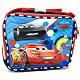 2017 Disney Pixar Cars 3 Canvas Blue Red Insulated Lunch Bag Multiple Signs