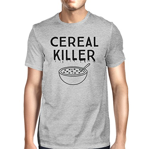 365 Printing Cereal Killer T-Shirt Mens Dark Gray Funny Graphic Halloween Shirt