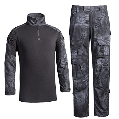 Men's Military Tactical Shirt and Pants Multicam Army Camo Hunting Airsoft Paintball BDU Combat Uniform Dry Quick Black Python Large