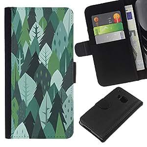 BearCase / Cuero de la tarjeta la carpeta del tirón Smartphone Slots Protección Holder /// HTC One M7 /// Los árboles del bosque verde de la naturaleza Dibujo de Verano