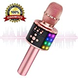 Wireless Bluetooth Karaoke Microphone with Multi-color LED Lights, 4 in 1 Portable Handheld Home Party Karaoke Speaker Machine for Android/iPhone/iPad/Sony/PC (Rose Gold)