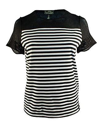 Lauren Ralph Lauren Women's Plus Size Short Sleeve Striped Mesh Yoke Top