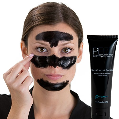Hydration Facial Peel Off Mask - Black Peel Off Mask Charcoal [PEEL by Prosper Beauty] Large 3oz Tube Purifying Facial Blackhead Remover Deep Cleaning Aloe Vera Hyaluronic Acid Face Blackmask Masks All Skin Types Dry Oily Combination