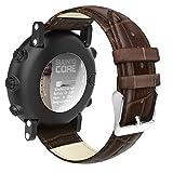 "MoKo Suunto Core Watch Band, Premium Soft Genuine Leather Crocodile Pattern Replacement Strap Wristband Bracelet for Suunto Core Smart Watch, Fits 5.31""-8.27"" (135mm-210mm) Wrist, Brown"