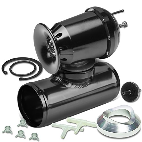Universal Aluminum SQV SSQV T3 Turbocharger Blow Off Valve + 2.5 inches Turbo BOV Flange Adapter Pipe (Black)
