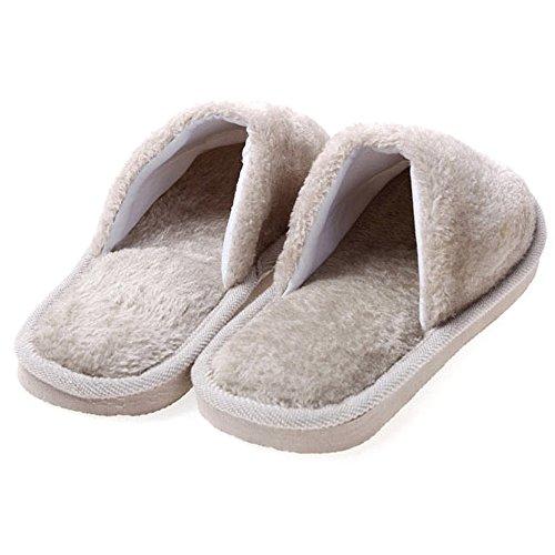 Pantoufles Femmes Confortable KINDOYO Peluche Hiver Chaussons Hommes Chaussures Gris Coton Chaud amp; Hommes w446EaXq
