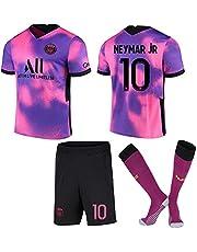 ACJIA P-S-G Jeugd 2020/21 Vierde Voetbalshirt Kit - Roze/Paars Unisex Voetbalrugby Fan Gift Training Shirts T-shirts & Tops Set voor jongens en heren - No. 10 Jersey
