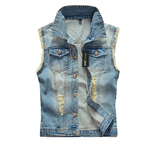 Custom Denim Jacket - Eternal Women Winter Spring Cotton Sleeveless Jeans Denim Vest Jacket Outerwear Clothes (S, Vest-6)