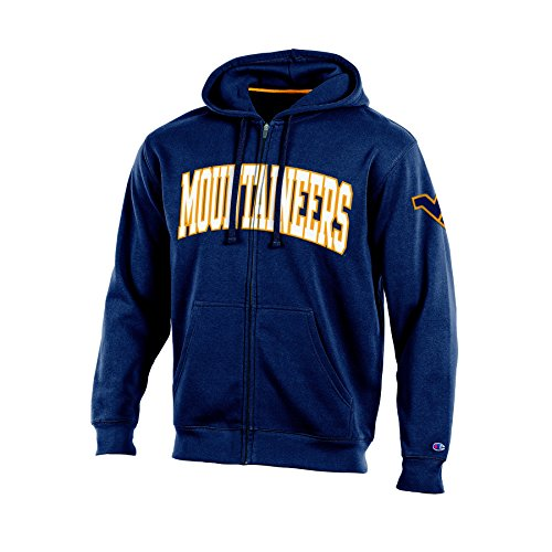 NCAA West Virginia Mountaineers Adult Men Full Zip Hooded Fleece, Medium, Navy (Tackle Virginia West)