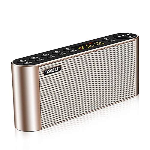 Price comparison product image Boens Speaker Fits iPhone X, Dual Music Player with Mic TF FM Radio Party Loudspeakers Subwoofer HiFi Led Display Speaker Portable Bluetooth Outdoor Mini Speaker for Office Car Living Room(Gold)