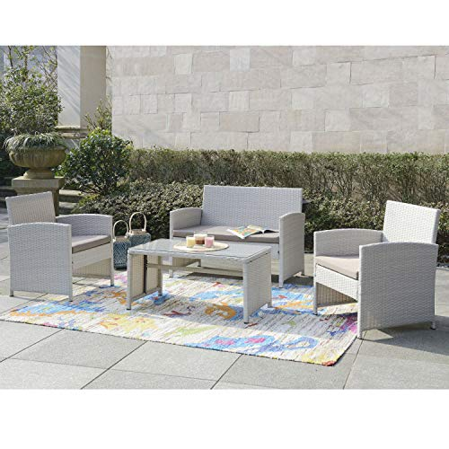 DG Casa 10150-4SET-GRY Clifton 4 Piece Outdoor Sofa Patio Deck Furniture Set with Loveseat Chair Table and Seat Cushions, Grey in Synthetic Rattan and Steel Frame