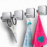 Adhesive Hooks Wall Hooks Towel Hook Sticky Hooks - Hooks for Kitchen, Bathroom and Office, Stainless Steel 4 Packs