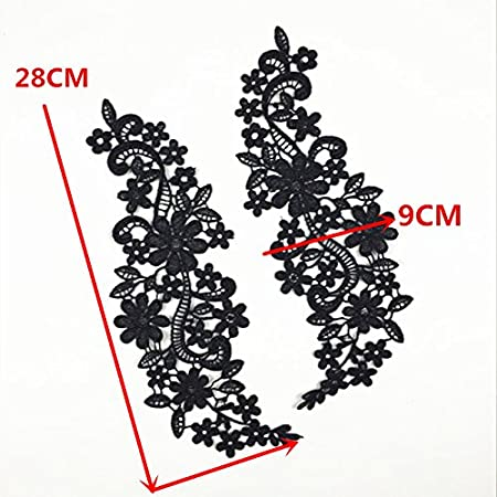 1 Pair Beautiful Black Flower Embroidery Patch Neckline Lace Applique Trims Collars Sewing DIY Crafts Style A