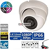 Cheap 2MP 1080p HD-CVI/HD-TVI/HD-AHD Motorized Zoom Dome Security Camera – 100′ IR – 2.8-12mm Motorized Zoom Lens – High Definition Security Recording over Coax Cable