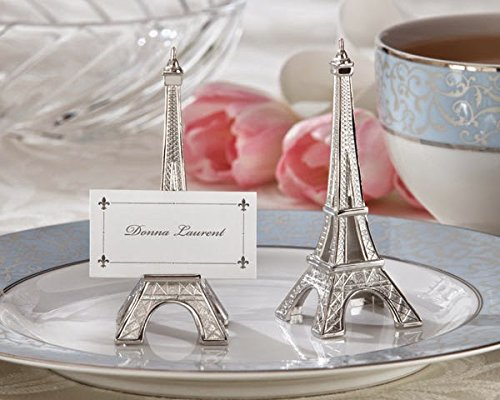 Eiffel Tower Place Card Holders - Evening in Paris Eiffel Tower Silver-Finish Place Card Holder set of 4 (Set of 18)