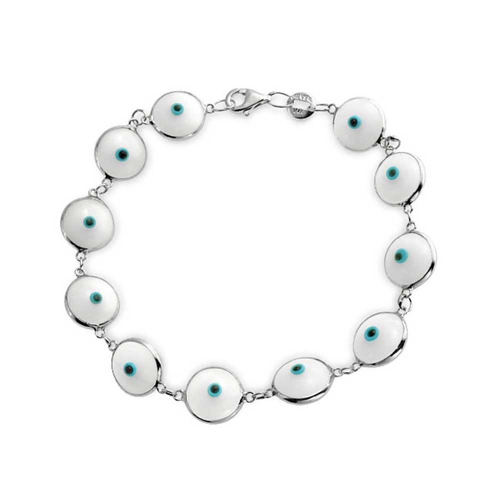 925 Sterling Silver White Glass Evil Eye Link Bracelet 7in