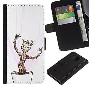 Protector de cuero de la PU de la cubierta del estilo de la carpeta del tirón BY RAYDREAMMM - Samsung Galaxy S5 Mini, SM-G800 - Feliz Divertido Bonsai