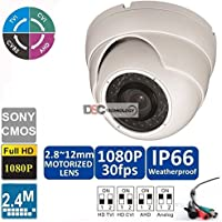 HD-CVI/TVI/AHD 1080p 2.4MP Auto-Zoom 2.8-12mm Dome Camera - Indoor/Outdoor, 36IR, Day/Night Security Camera