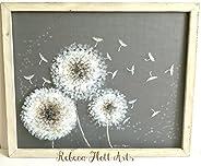Dream Dandelion hand painted on window Screen, original piece