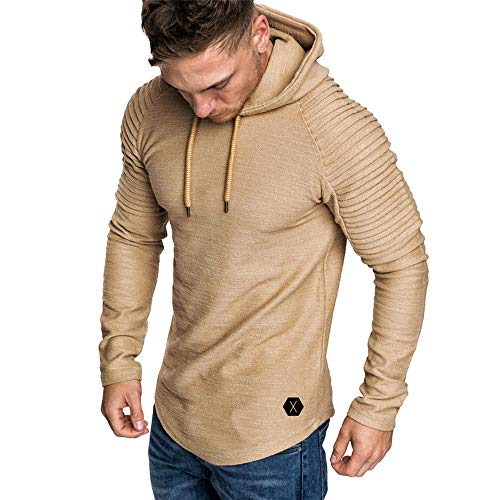 OrchidAmor Fashion Men's Autumn Winter Slub Cotton Pleats Slim Fit Raglan Long Sleeve Hoodie Top Blouse Khaki