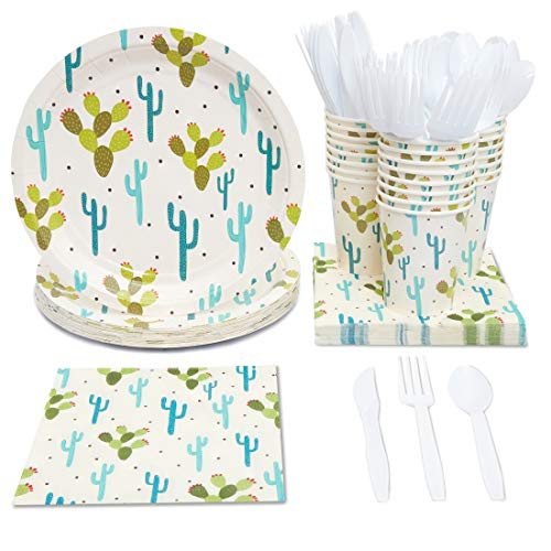 Juvale Cactus Party Supplies (Serves 24) Knives, Spoons, Forks, Paper Plates, Napkins, -