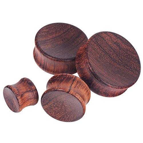 IU Mode 2PCS Wood Wooden Ear Gauges Ear Plugs Expander Tunnels Ear Piercing 00g(10mm) ()