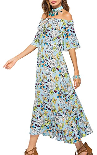 Dresses Maxi Light Blue Shoulder Summer Jusfitsu Boho Short Off Floral Women's Sleeve z87xzF