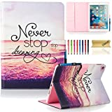 iPad Air 2 Case, iPad 6 Case, Dteck(TM) Fashion Cute Cartoon Flip Folio Kickstand Case with Card Slots Full Body Protective Synthetic Leather Wallet Cover for Apple iPad Air 2 (01 Never Stop)