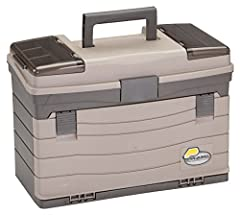 Spacious bulk storage. Two top access areas with crystal view lenses. Color: dark gray metallic and sandstone. Size: 17.5 L x 9.75 W x 12 h inches.