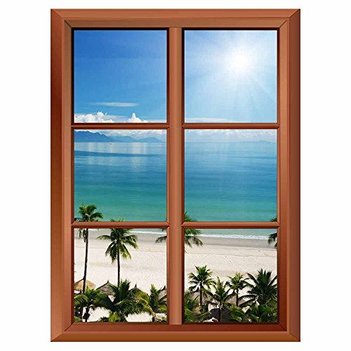 Removable Wall Sticker Wall Mural Palm Trees and Tropical Beach Creative Window View Vinyl Sticker