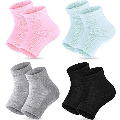 (Bememo Soft Gel Heel Socks Ventilate Open Toe Socks 4 Pairs for Dry Hard Cracked Skin Moisturizing Day Night Care Skin (Pink, Turquoise, Grey and)