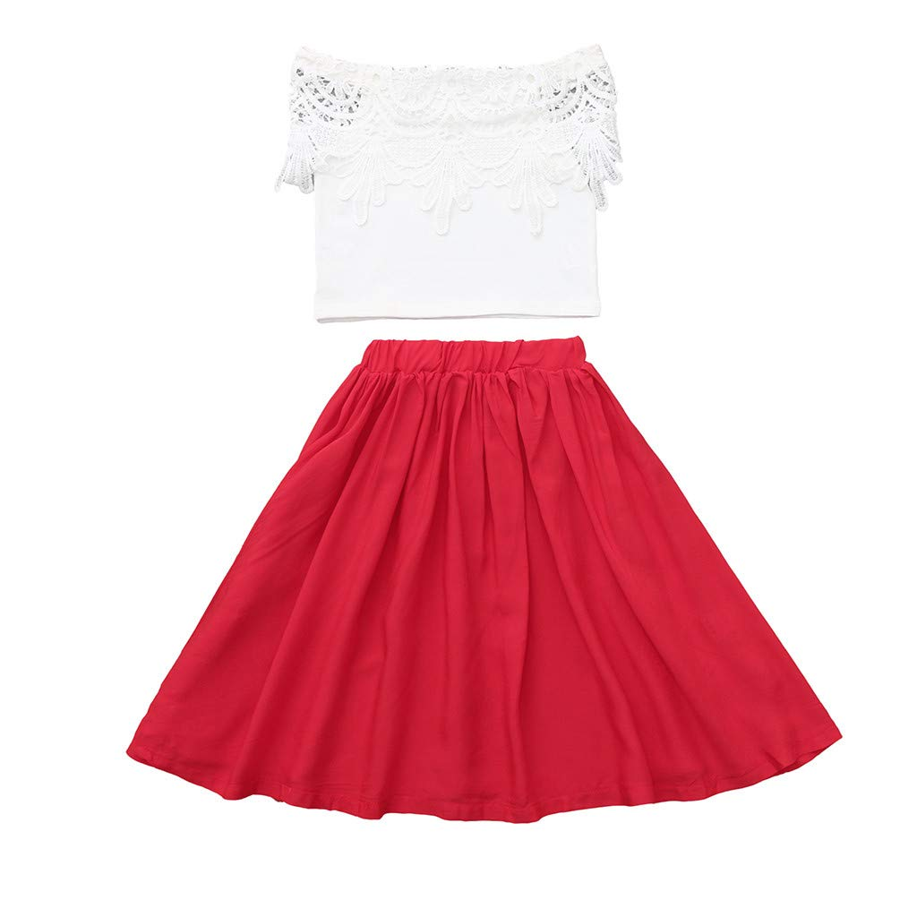 Fashion Summer Outfits Set for Baby Girl Lace Off Shoulder Solid Tops+Pleated Tutu Skirt 2Pcs (Red, Recommended Age:6-12 Months)