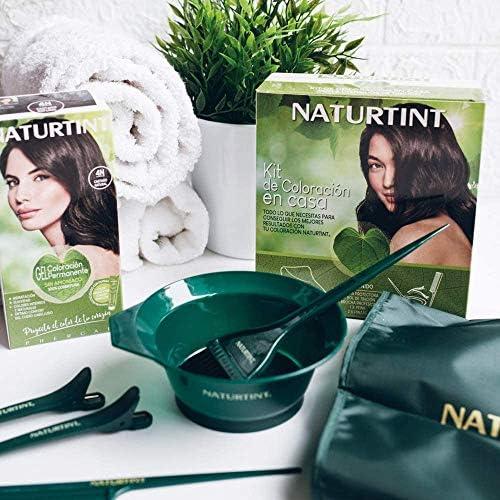 Naturtint Kit de Coloración en Casa 5 Accesorios - Brocha + Capa + Peine + Pinzas + Bol   Kit Tinte Pelo   Sin Elementos Metálicos   Kit Tinte Cabello ...