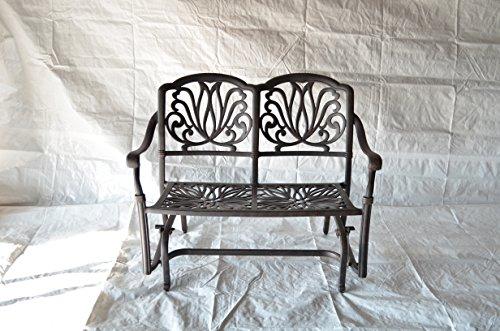 Elizabeth Outdoor Patio Glider Bench Cast Aluminum Dark Bronze Color (Walnut cushions)