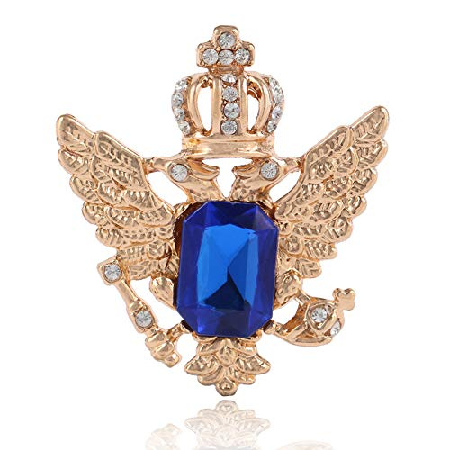 Elegant Sapphire Crown Double-Headed Eagle Wings Brooch Pin Badge Pin Charm Jewelry Accessories (Blue Gold)