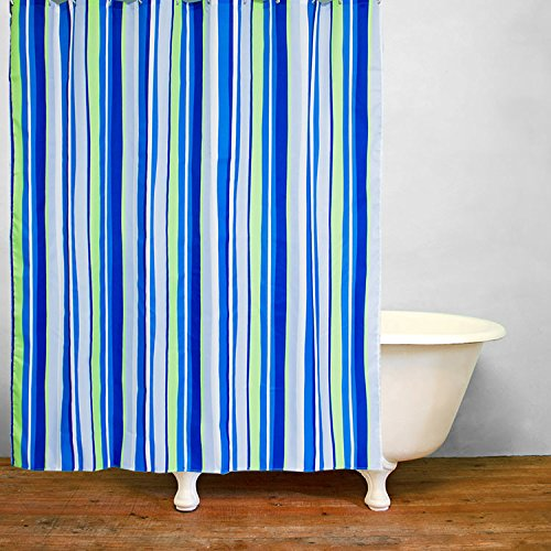 Ao blare color stripe Polyester Fabric Shower Curtain, 72 x 79-Inch, Blue/Green/White (1)