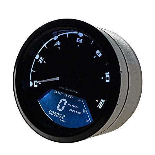 12000 RPM MPH Blue Backlight LCD Digital Indicator Odometer Speedometer Tachometer for 2 4 Cylinders Motorcycle - Mph Tachometer
