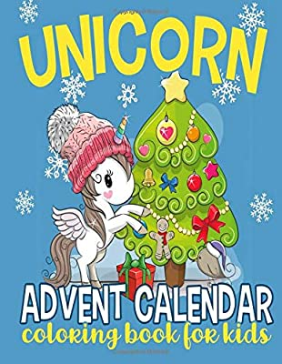 Unicorn Advent Calendar Coloring Book For Kids 25 Numbered
