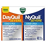 Vicks NyQuil and DayQuil SEVERE Cough Cold and Flu Relief, 48 Caplets (32 DayQuil + 16 NyQuil) - Pack of 5