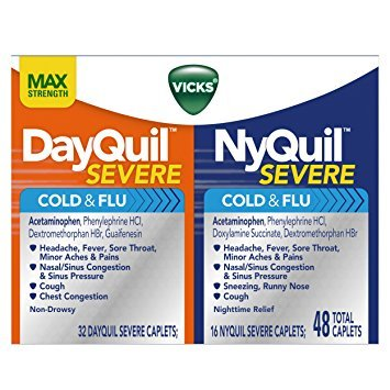 Vicks NyQuil and DayQuil SEVERE Cough Cold and Flu Relief, 48 Caplets (32 DayQuil + 16 NyQuil) - Pack of 5 by Vicks V