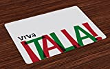 Lunarable Italian Flag Place Mats Set of 4, Viva Italia Quote in Flag Colors National Celebration Lifestyle, Washable Fabric Placemats for Dining Room Kitchen Table Decoration, Ruby Forest Green Black