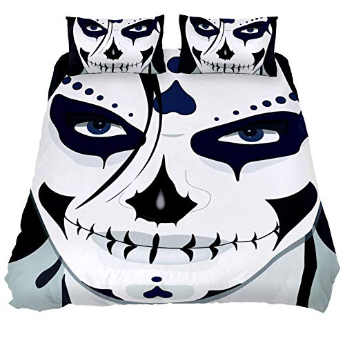 LORVIES Halloween Guy Makeup Style Duvet Cover Set, 3 Piece - Microfiber Comforter Quilt Bedding Cover with Zipper, Ties, Decorative Bedding Sets with Pillow Shams for Men Women Boys Girls Kids Teens -