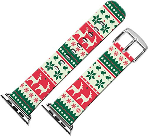 Bands Compatible with Iwatch 40mm/38mm Christmas & Cisland Leather Strap Compatible with Apple Watch Series 1/2/3/4 Sport & Edition Beautiful Lovely Christmas Day Xmas Printing Design Present