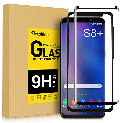 Galaxy S8 Plus Screen Protector Glass, Elecshion 3D Curved Tempered Glass Dot Matrix Screen Protector for Samsung S8 Plus with Easy Installation Tray (Case Friendly)