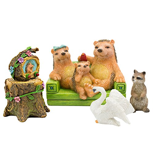 The Adorable Hedgie S. Hedgehog Family (5 Piece) Miniature Garden Fairy and Gnome Set by Twig & Flower - Fairy Toothpicks