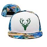 Artisfive Green Buffalo Plaid Moose Head Camo Flat Bill Baseball Cap Trucker Snapback