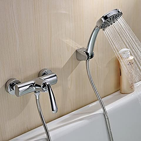 LightInTheBox Contemporary Wall Mounted Ceramic Valve Single Handle Two Holes with Chrome Bathroom Sink Faucet Shower Faucet